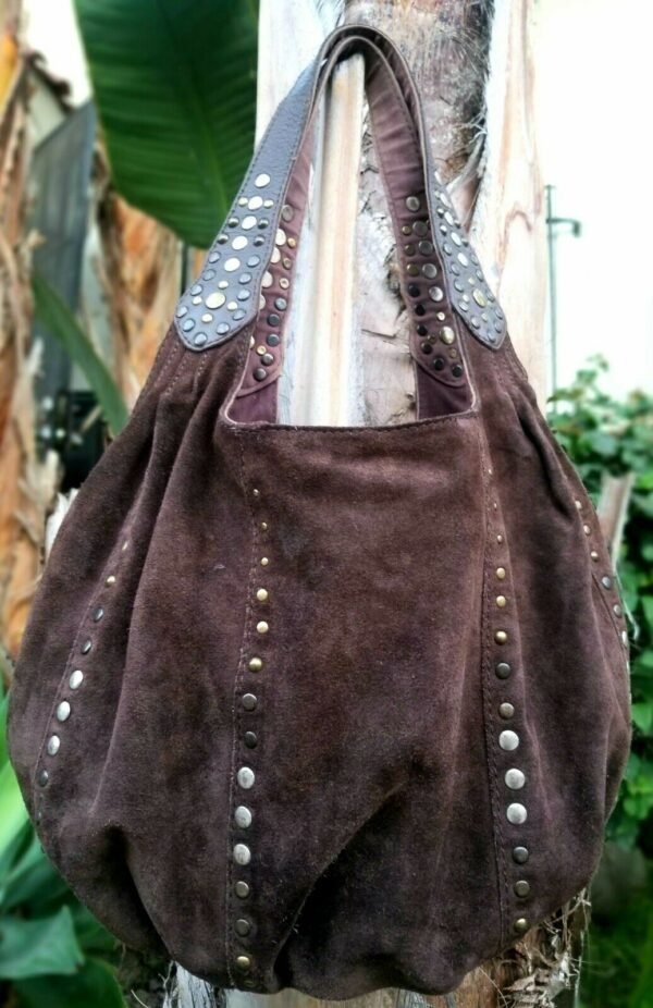 LUCKY BRAND Large Brown Leather Rounded Hobo Shoulder Carryall Studded Hobo Bag