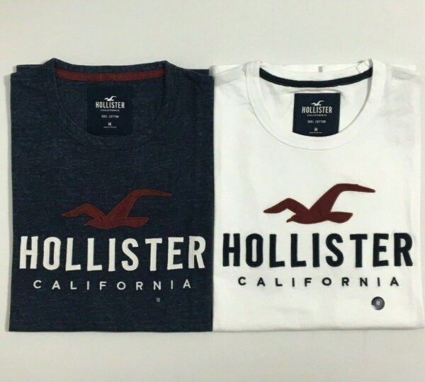 Hollister Men's Applique Graphic T-Shirt Crew Neck Logo Tee Size XS SML XL New
