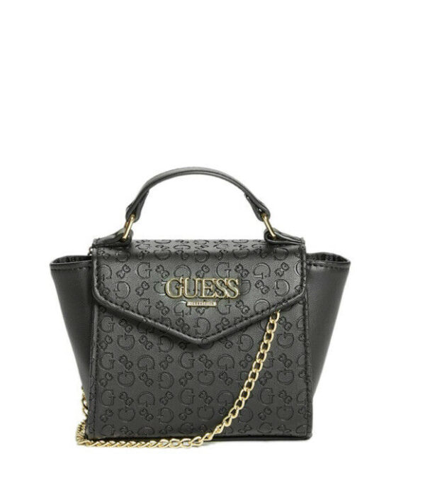 Guess Blaire Micro Mini Satchel & Crossbody Bag Embossed Logo Black
