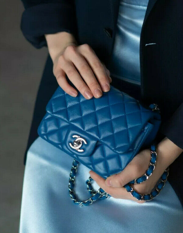 VERIFIED Authentic CHANEL Blue Quilted Lambskin Leather Square Mini Flap Bag
