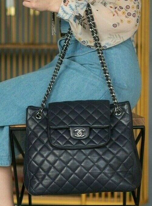 CHANEL แท้ CHANEL Black Quilted Caviar Leather Flap Tote Bag